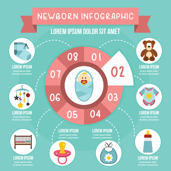 Newborn baby infographic design vector