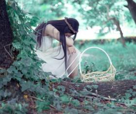 Non-mainstream sad girl Stock Photo
