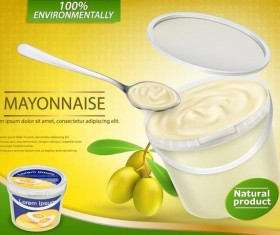 Olive mayonnaise poster vector