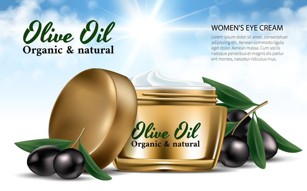 Olive oli cosmetic poster template vector 01