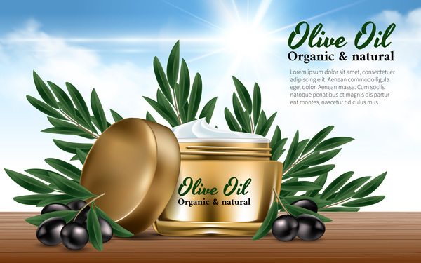 Olive oli cosmetic poster template vector 02