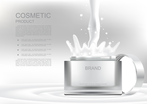 Opened cosmetic jar and pouring cream on gray cosmetic ads poster vector