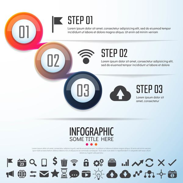 Option banner with circle infographic vector 03