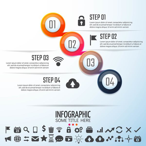 Option banner with circle infographic vector 04