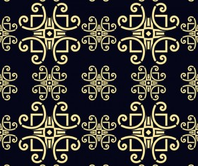 Ornament golden vintage seamless pattern vector material 02