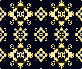 Ornament golden vintage seamless pattern vector material 04