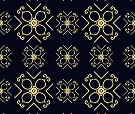 Ornament golden vintage seamless pattern vector material 07