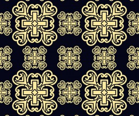 Ornament golden vintage seamless pattern vector material 09