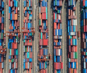 Overhead freight yard Stock Photo