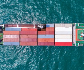 Overlooking the sea container ship Stock Photo