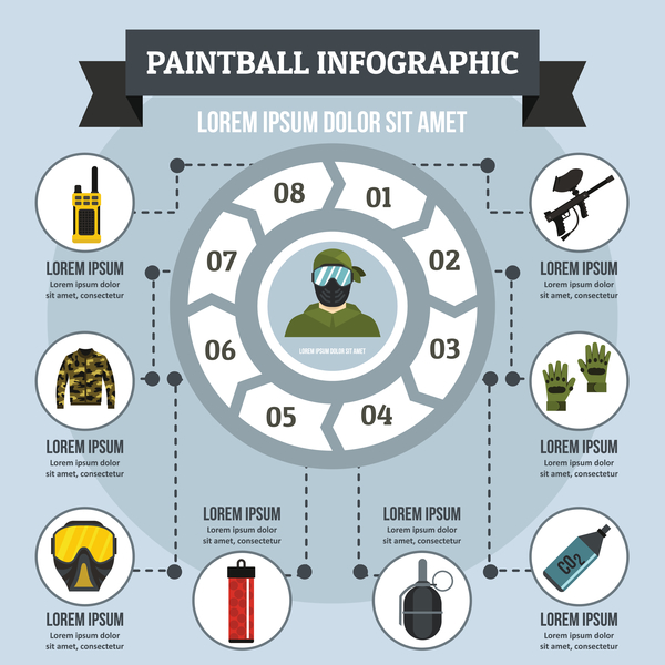 Paintball infographic design vector