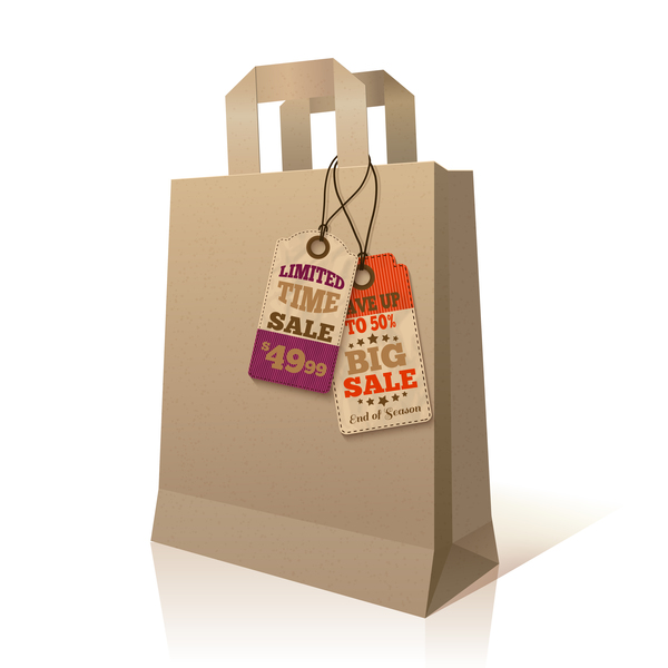 Paper bag with sale tags vector