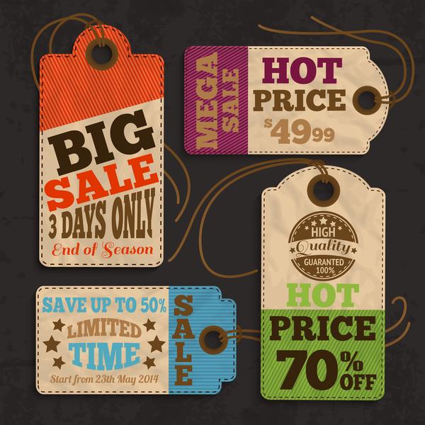 Paper board tags vintage vector 01
