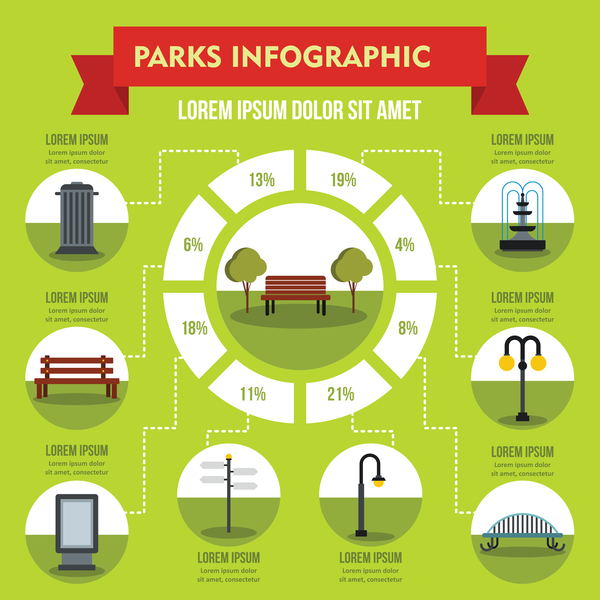 Parks infographic design vector