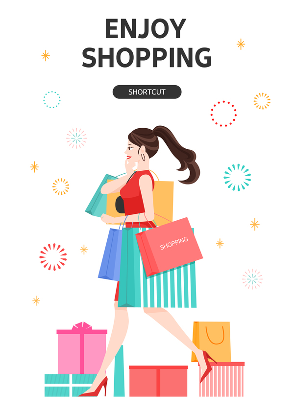 People shopping fashion background vector 01