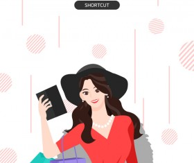 People shopping fashion background vector 02