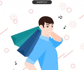 People shopping fashion background vector 03