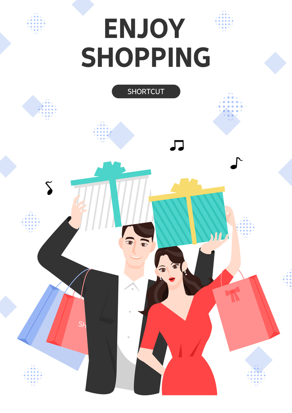 People shopping fashion background vector 04