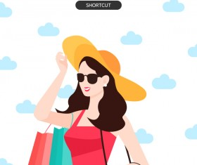 People shopping fashion background vector 05