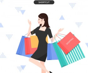 People shopping fashion background vector 06