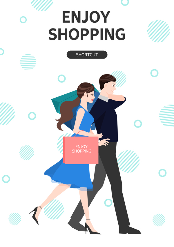 People shopping fashion background vector 10