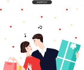 People shopping fashion background vector 11