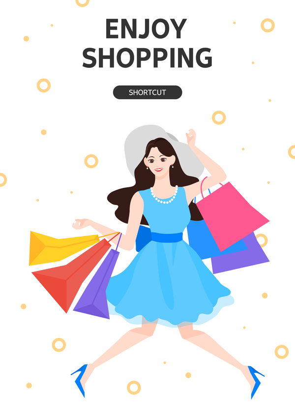 People shopping fashion background vector 12