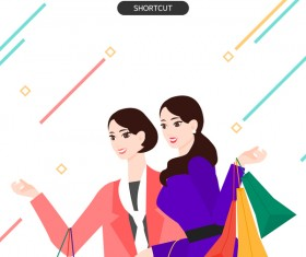 People shopping fashion background vector 13