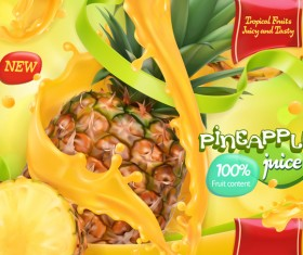 Pineapple juice poster template vector