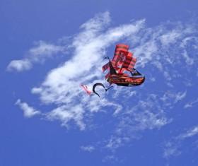 Pirate ship kite in the sky Stock Photo