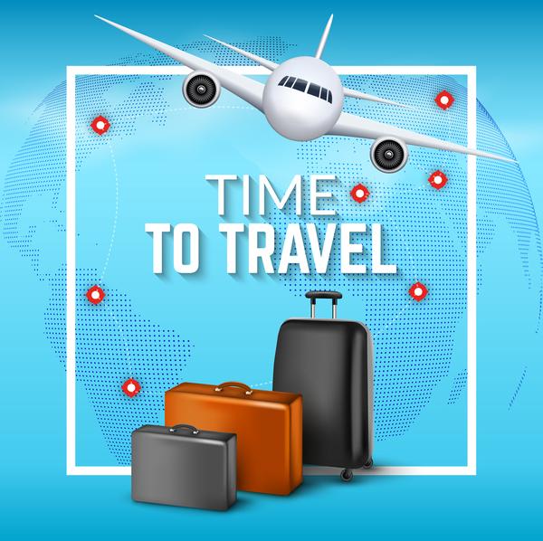 Plane travel world vector