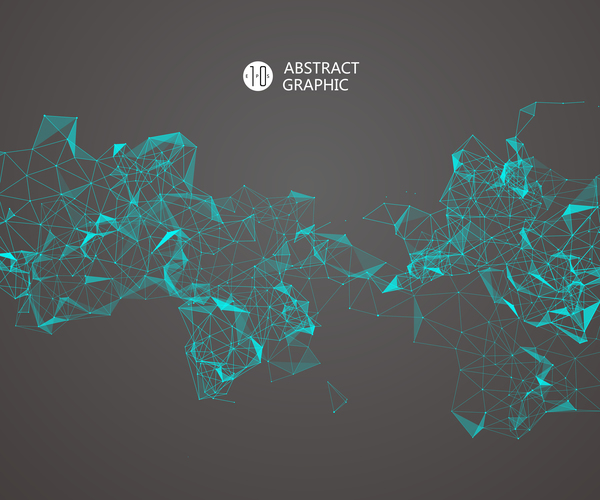 Points with Lines and connection abstract background vector 03