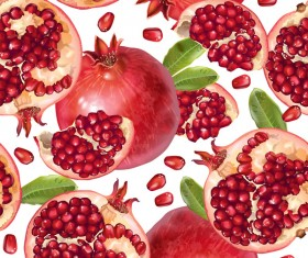 Pomegranate seamless pattern vectors