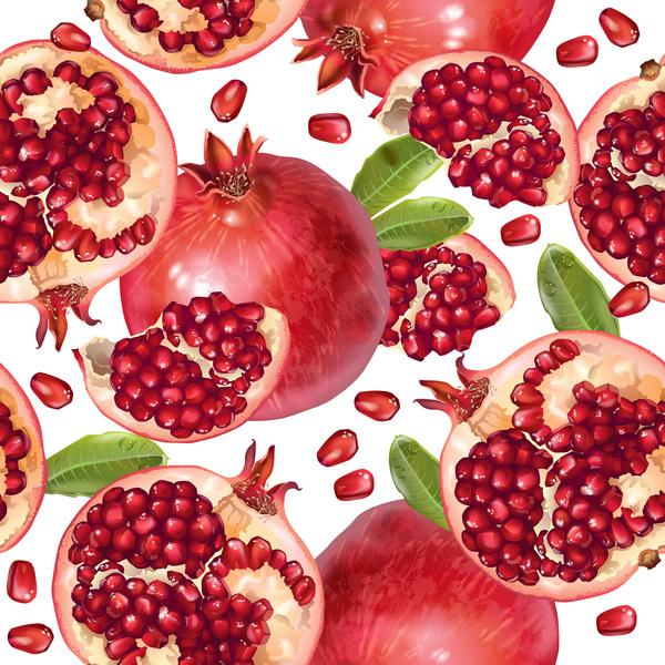 Pomegranate seamless pattern vectors