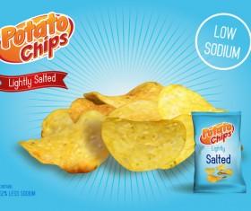 Potato chips poster advertising vector 02