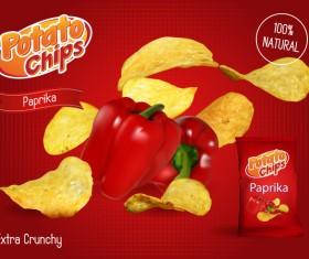 Potato chips poster advertising vector 03