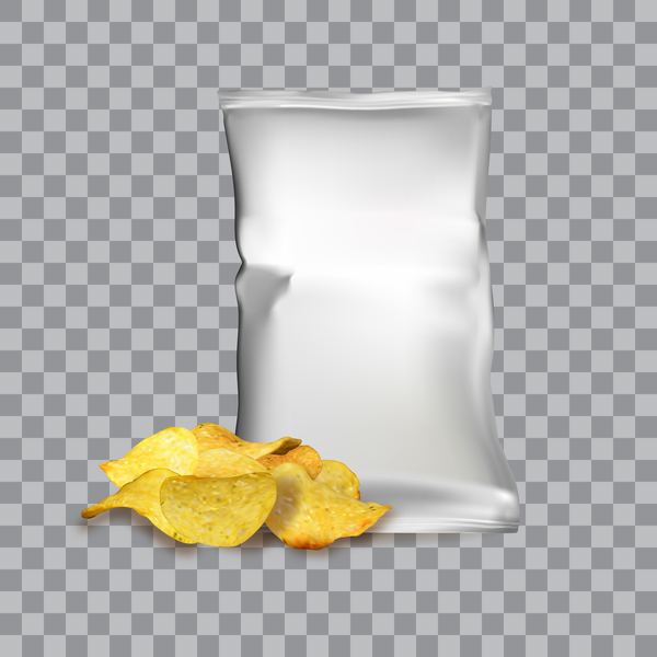 Potato chips with package illustration vector