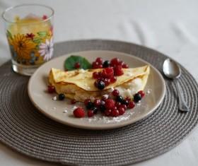 Raspberry cherry pancakes Stock Photo