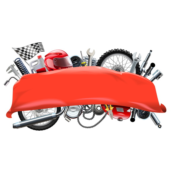 Red Banner with Motorcycle Spares vector