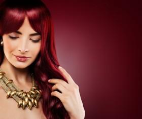 Red hair woman fashion model Stock Photo 01