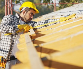 Repair the roof of the construction workers Stock Photo 02