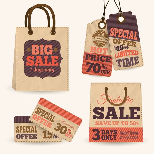 Retro bag with sale tags vector material