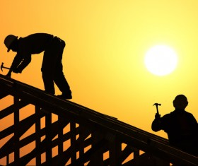 Roof repair construction workers Stock Photo 01