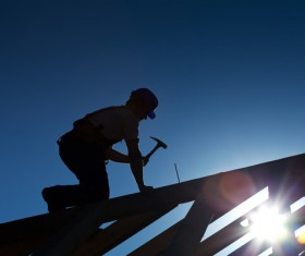 Roof repair construction workers Stock Photo 02