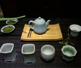Ru kiln ceramic tea sets Stock Photo