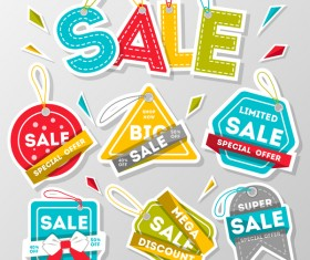 Sale tags sticker vector material