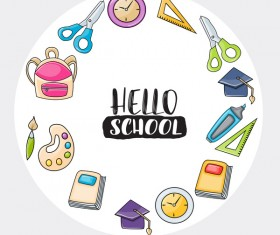 School frame with circle background vector