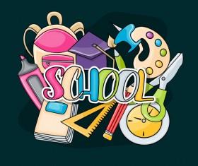 School hand drawn background vector 03