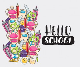 School hand drawn background vector 05