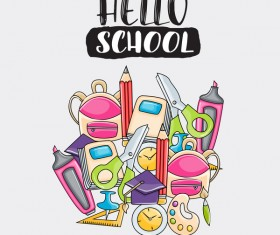 School hand drawn background vector 07